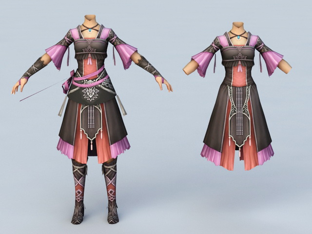 Ancient Chinese Women Clothing 3d model