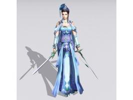 Female Swordswoman Figure 3d model