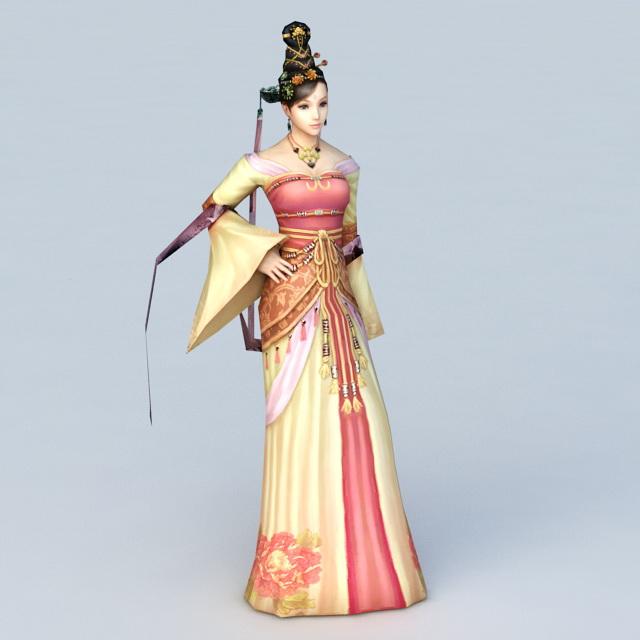Ancient Asian Dancer 3d model