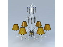 French Wire Chandelier 3d model