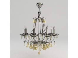 Metal Chandelier with Crystals 3d model