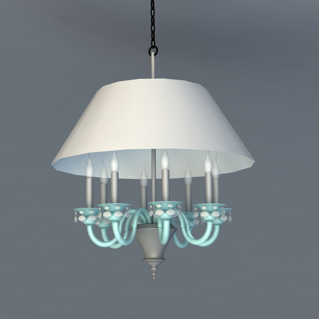 Candle Chandelier with Shade 3d model
