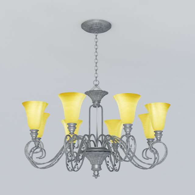 Contemporary Iron Chandelier 3d model