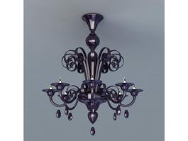 Black Crystal Chandelier Lighting 3d model
