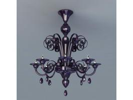 Black Crystal Chandelier Lighting 3d model