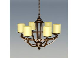 Bronze 6-Light Chandelier 3d model