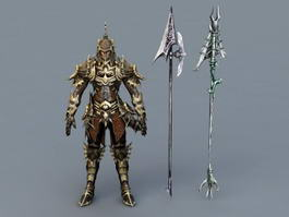 Male Warrior with Armor and Weapons 3d model