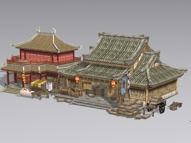 Ancient Chinese Architecture Buildings 3d Model 3ds Max