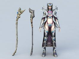 Warrior Girl Mage with Staffs 3d model
