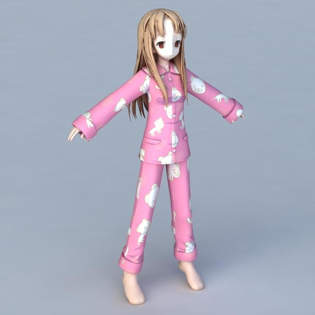 Anime Doll Girl 3d model