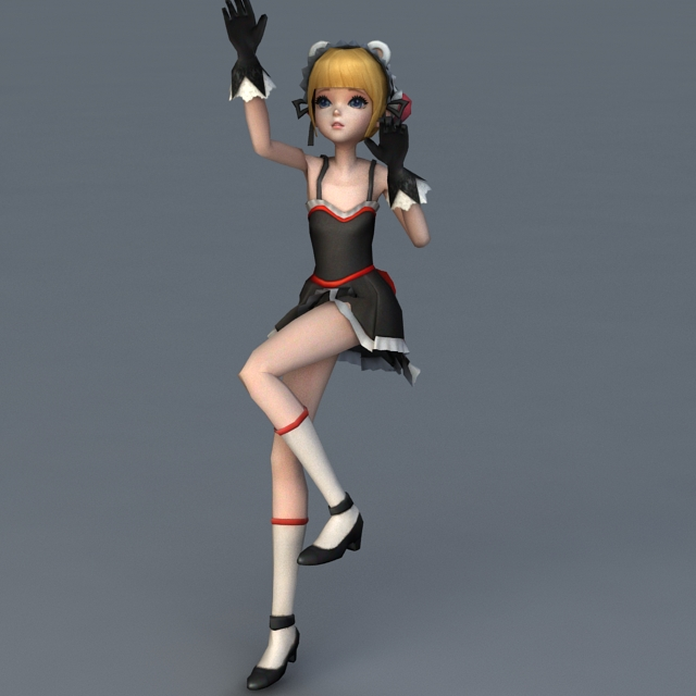 Anime Characters 3d Models : Anime girl character rigged animated d model ds max