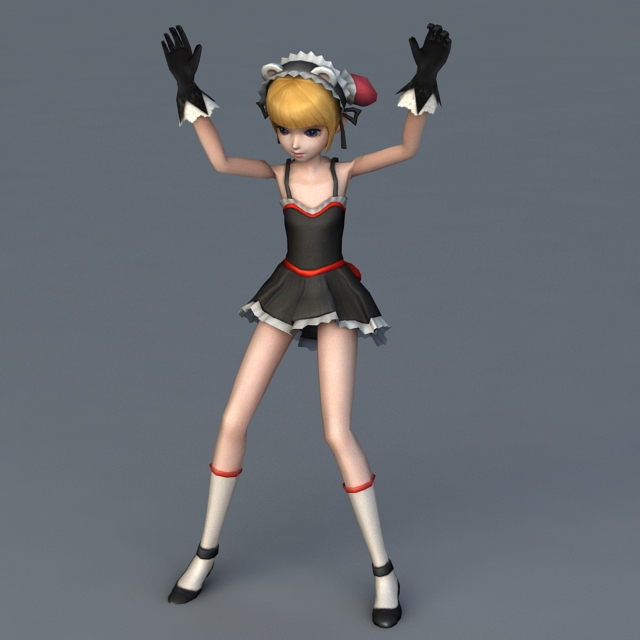 Anime Girl Character Rigged Animated 3d Model 3ds Max