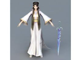 Woman with Sword 3d model