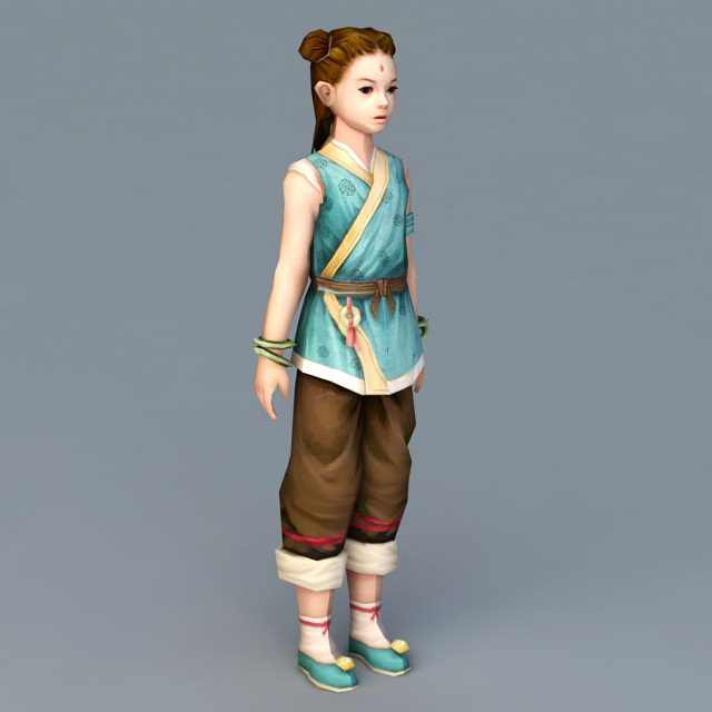 Traditional Chinese Little Girl 3d model