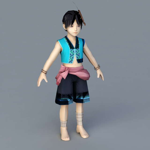Traditional Chinese Boy 3d model