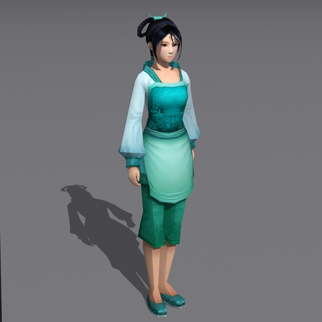 Traditional Chinese Peasant Girl 3d Model 3ds Max Files
