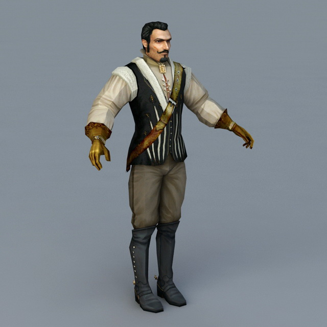 Early Colonial Man 3d model