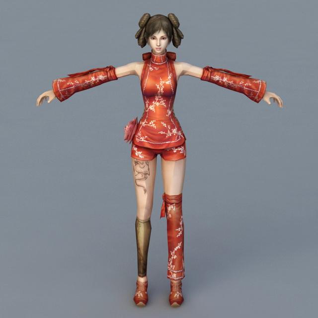 Chinese Female Fighter Girl 3d model