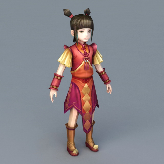 Chinese New Year Anime Girl 3d Model 3ds Max Files Free