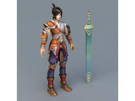 Awesome Anime Swordsman 3d model