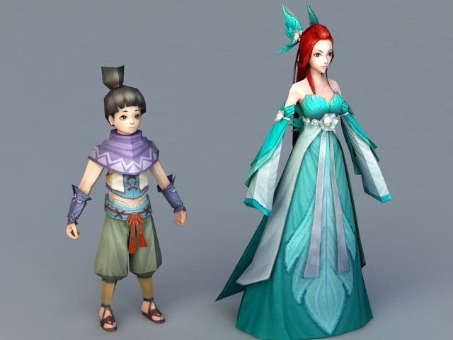 Chinese Mother and Son 3d model