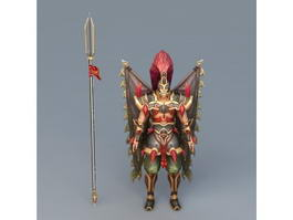 Winged Warrior with Spear 3d model