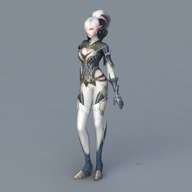 Female Elf Mage 3d model
