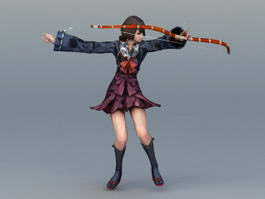 Female Samurai Archer 3d model