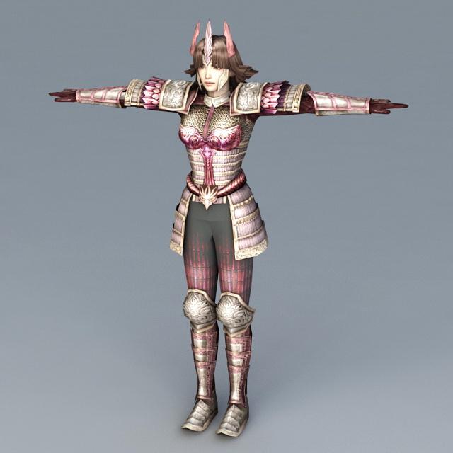 Japanese Samurai Girl 3d Model 3ds Max Files Free Download