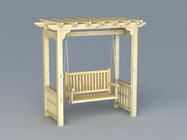 garden arbor with swing 3d model - Garden Furniture 3d