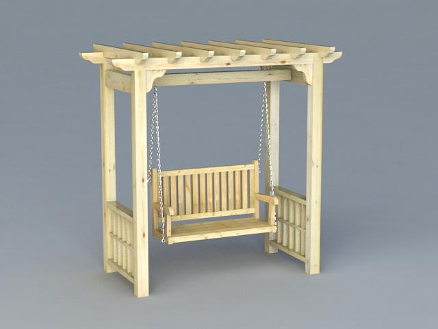 garden arbor with swing 3d model