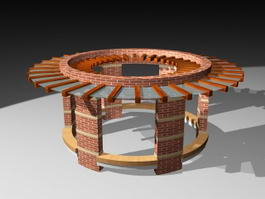Circular Brick Pergola 3d model