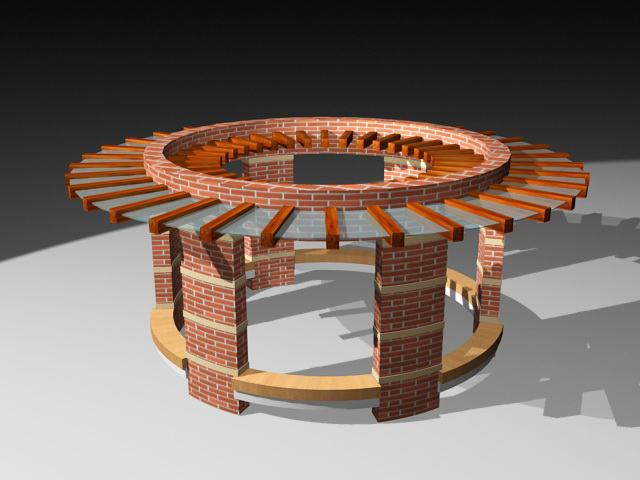 Circular Brick Pergola 3d Model 3ds Max Files Free