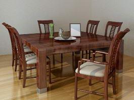 Family Dinner Table Set 3d model