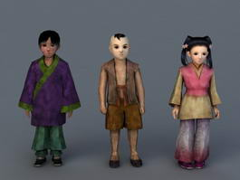Traditional Chinese Rural Children 3d model