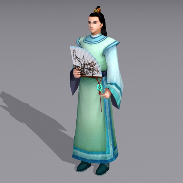 Ancient Chinese Young Male Scholar 3d model