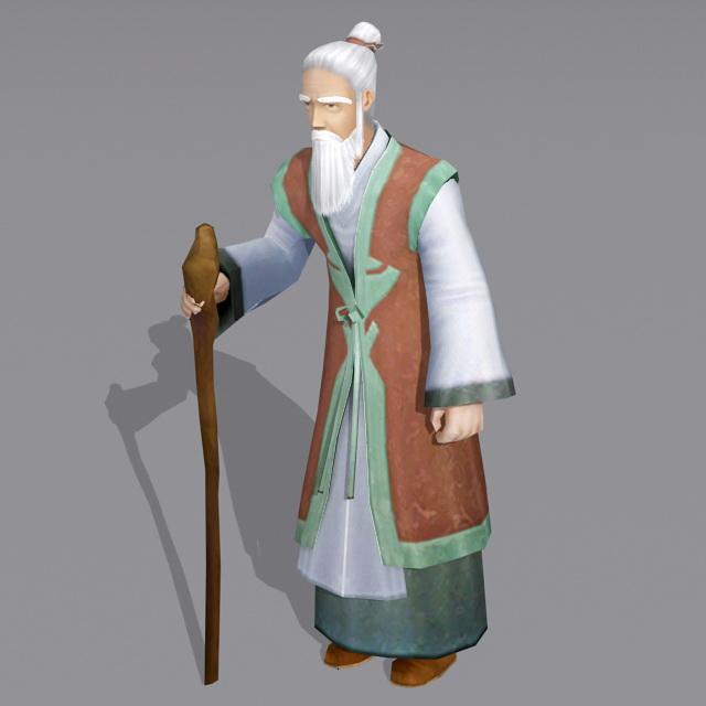Rural Old Man 3d model