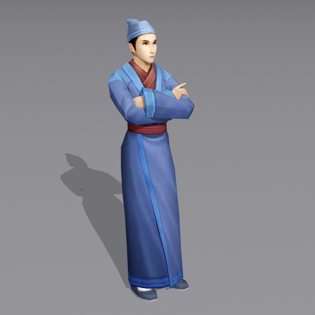 Ancient Chinese Male Waiter 3d model