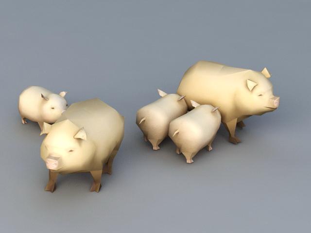 Domestic Pigs 3d model