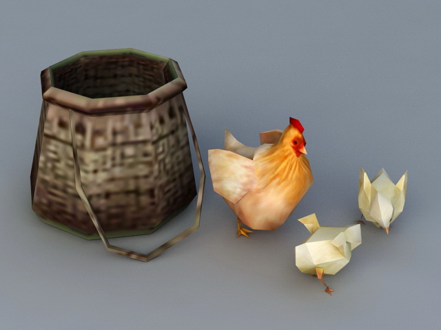 Hen and Chicks Chickens 3d model