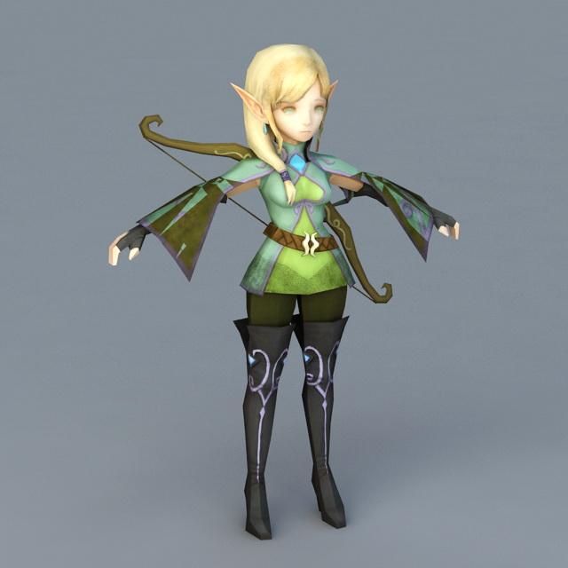 Anime Girl Elf Archer 3d model
