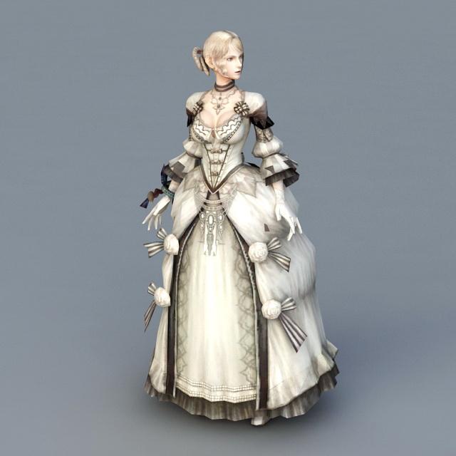 Pretty Colonial Lady 3d model