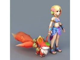 Anime Girl & Fox Spirit 3d model