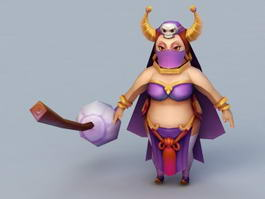 Cartoon Witch with Broom 3d model