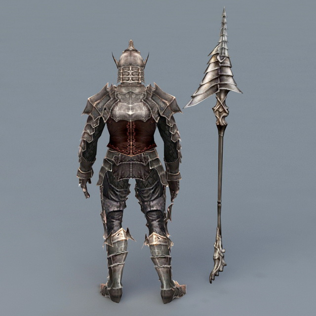 Warrior Armor with Spear 3d model 3ds Max files free
