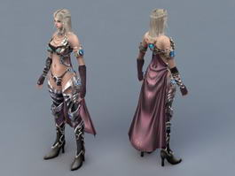 Female Mage with Blond Hair 3d model