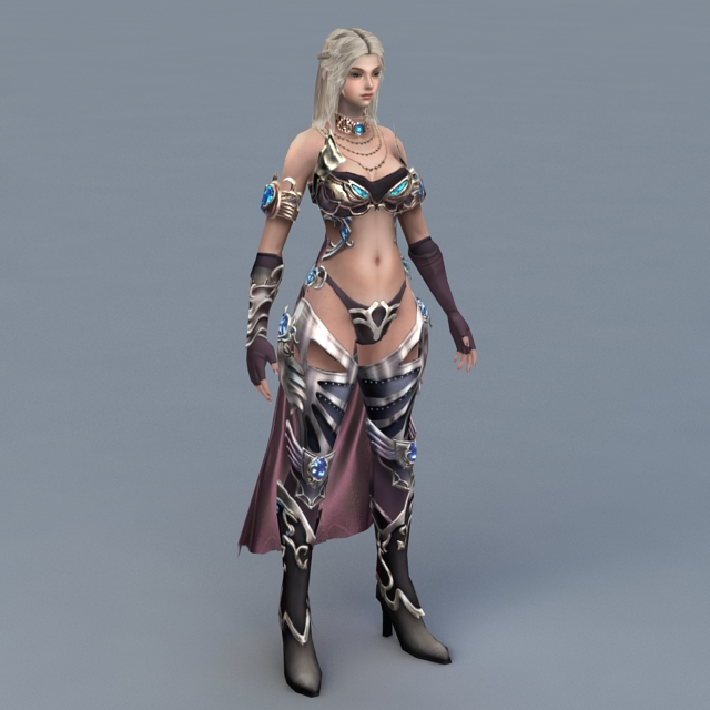Female Mage With Blond Hair 3d Model 3ds Max Files Free