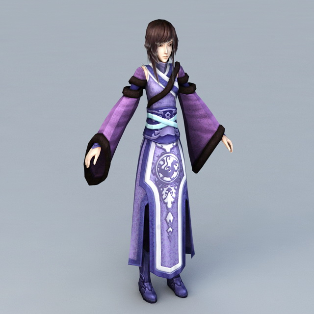 Chinese Girl Traditional Dress 3d model