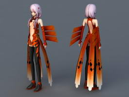 Butterfly Anime Girl 3d model
