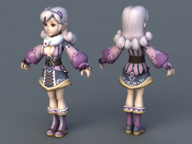 Anime Characters 3d Models : Pretty anime lady d model ds max object files free